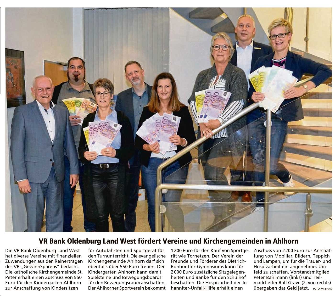 VR Bank Oldenburg Land West fördert Vereine und Kirchengemeinde in AhlhornDie VR Bank Oldenburg Land West hat diverse...Artikel vom 21.12.2019 (WZ)
